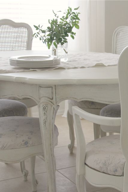 Lovely Modern Farmhouse Kitchen Decor Ideas! White French farmhouse style vintage dining table and chairs. Design by Hello Lovely Studio. #shabbychic #diningroom #frenchfarmhouse #whitedecor