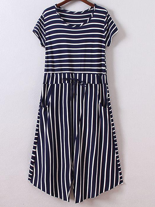Kleid kurzarm mit Tasche Streifen und Tunnelzug am Taille - marine- German SheIn(Sheinside)
