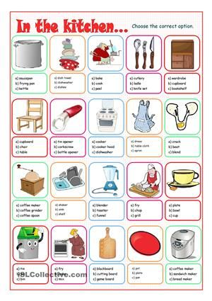 Multiple choice exercise on kitchen words to practise the for Kitchen utensils in spanish