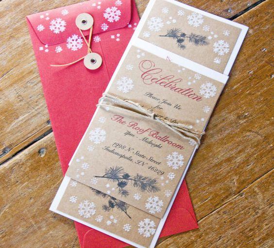 Inverno pino rustica eleganza nozze invito di ForgetMeKnotPaperie, $100.00
