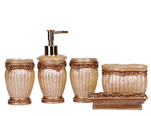 Luxurioses Badezimmer Set 5tlg Gold Mit Becher Seifenschale Seifenspender Und Zahnburstenhalter Glamorous Vintage D Seifenspender Seifenschale Badezimmer Set