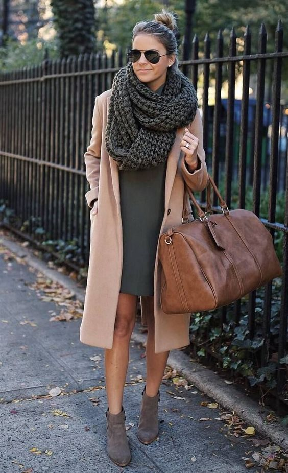 incredible fall outfit on thanksgiving day | scarf + bag + dress + nude coat + boots
