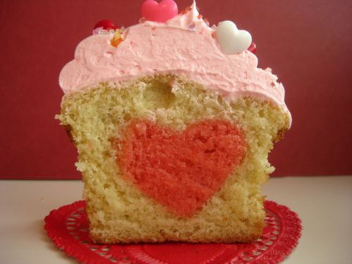 Cupcakes with heart inside
