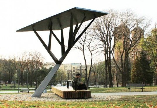 The Black Tree - a solar powered mobile phone charger, by Serbian designer Miloš Milivojevic for the Strawberry Energy company, which invented the first public solar charger for mobile phones.  This installation is just one way the city of Belgrade is trying to remind the public of ways we can tap into the sun's energy