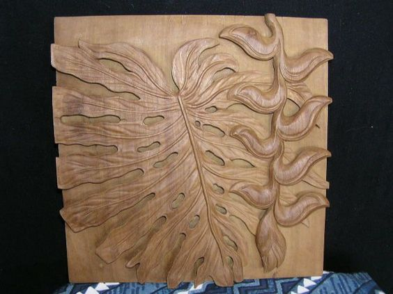 Carved wooden relief quot monstera leaf haleconia flower