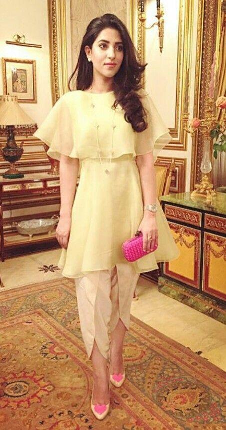 Stitching Styles Of Pakistani Dresses Off white Tulip shalwar