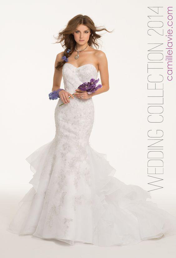Metallic Applique Tiered Back Wedding Dress by Camille La Vie