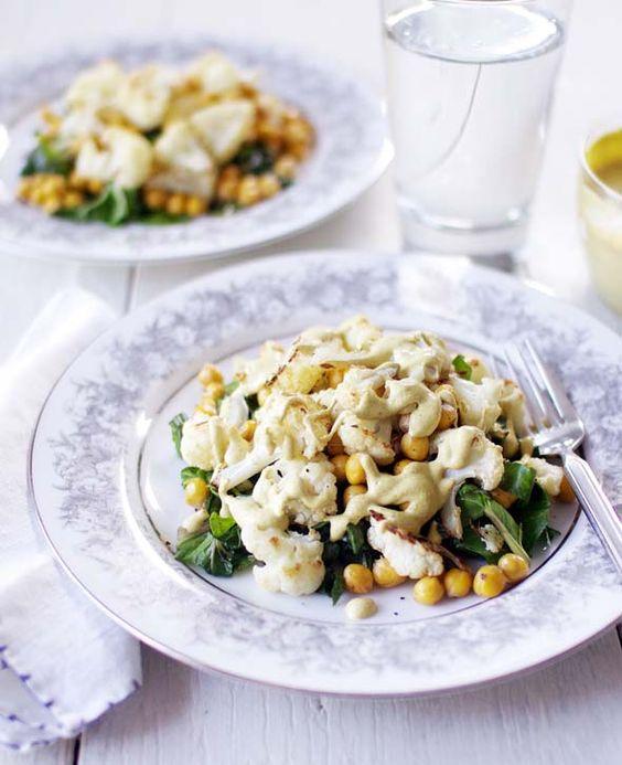 roasted cauliflower & chickpeas with tahini