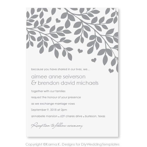wedding invitation templates printable wedding invitations and  printable wedding invitation template  instantly editable text hearts amp branches silver