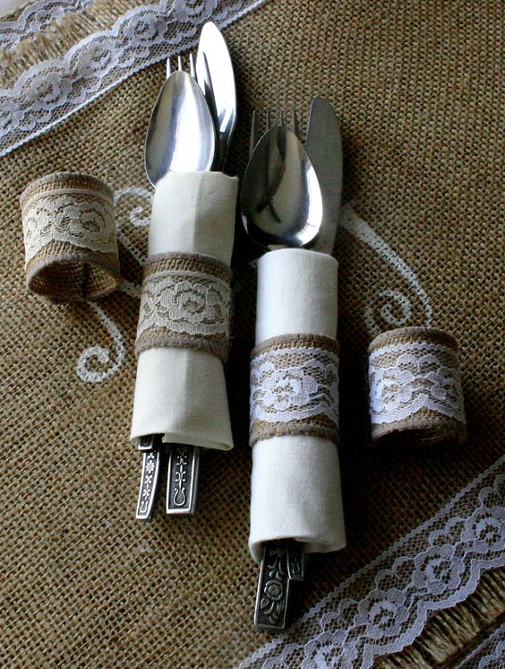 Burlap Cutlery Holders 200 For 100 Silverware Weddings Countrry Wedding Place Settings