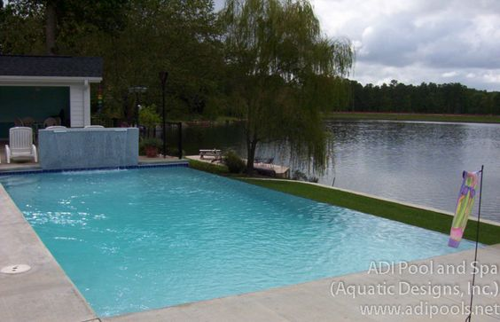 Swimming Pool With Vanishing Edge And Raised Wall With Sheer Descent We Built In Cary Nc