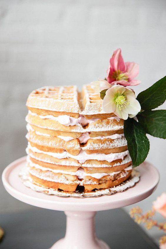 Save this to get ideas for a brunch wedding, like this waffle cake.: