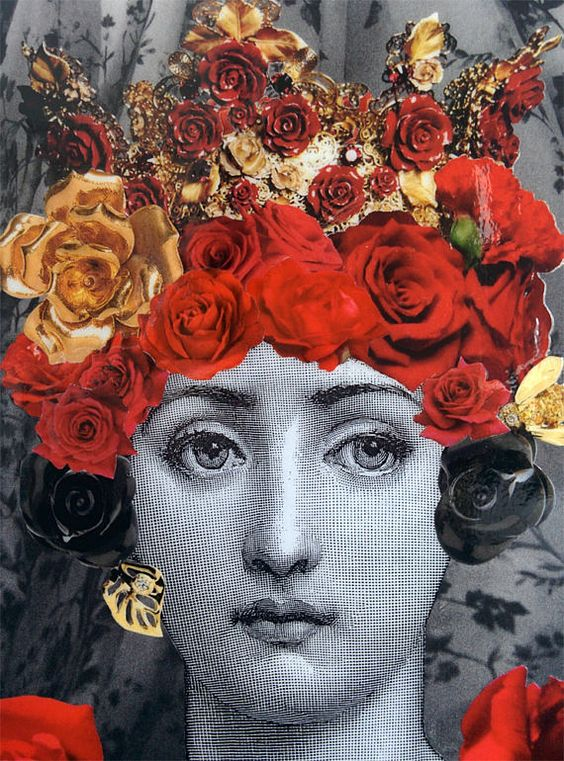 Fornasetti inspired decoupage artwork UNFRAMED 4x6 Lina