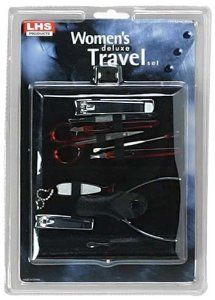 WOMEN DELUXE TRAVEL BEAUTY MANICURE 10PC SET :B-08411 by ToolUSA. $8.99. Makes A Great Gift. Great For Travel, But Use It At Home, Too. Zipper Pouch Secures Everthing In Place. Women's Deluxe Travel Manicure Set : (Toolusa) This Little Travel Manicure Set Is Just The Thing To Take Along Wherever You Go. Keep One In The Glovebox For Quick Touchups. Set Includes: Nail Clippers, Toenail Clippers, Cuticle Nippers, Cuticle Push Tool, Scissors, Slant Tweezers, Nail File...