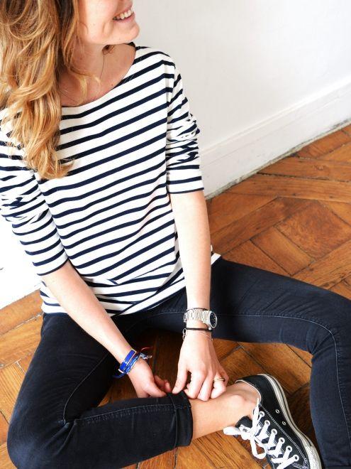 Women's jersey striped jumper- non-embroidered émoi émoi - Photo
