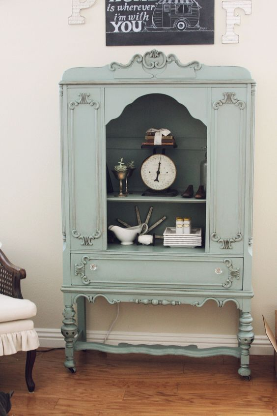 Vintage cabinet in duck egg blue chalk paint our nest for Antiquing kitchen cabinets with chalk paint