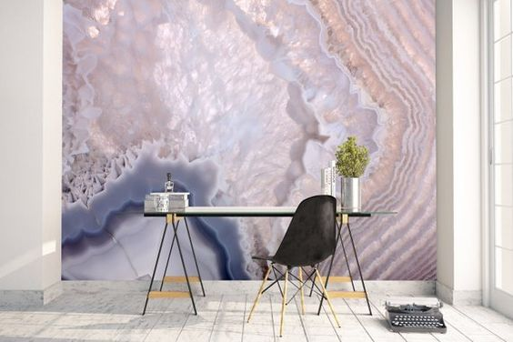 High quality repositionable removable self adhesive wallpaper/ grey geode/agate wall mural