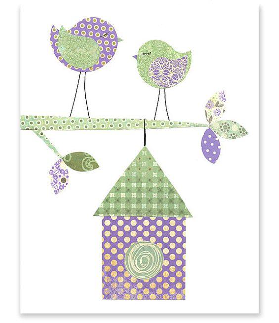 Red green birds and nursery art on pinterest for Bird nursery fabric