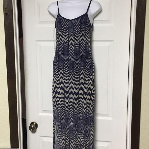 chevron Maxi Navy blue mini dress under a semi sheer white/navy chevron dress. Slits up both sides. Super cute Fire Los Angeles Dresses Maxi