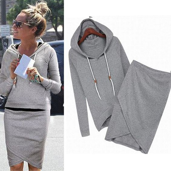 Irregular Lep Full Sleeve Woman Two-Piece Set Hooded Front Black Gray Color Elastic Waist Ropa Mujer Sexy Woman two-set clothes