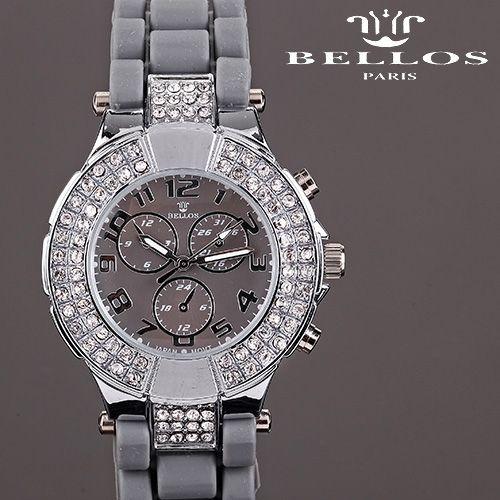 Reloj de goma en color gris con la esfera plateada y con piedras. #tiendaonline #moda #tendencias #watches #fashion #jewelry #style