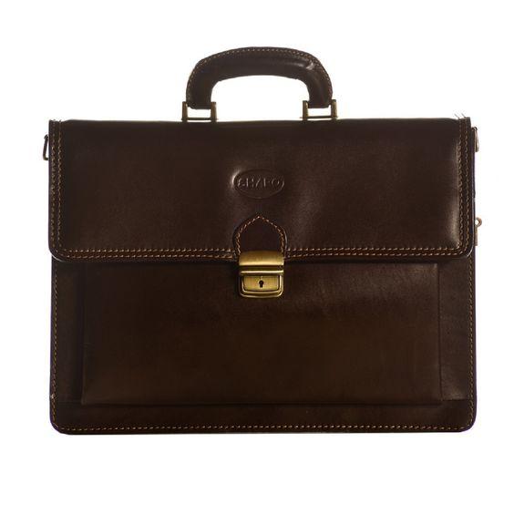 Sharo Dark Genuine Italian 15-inch Laptop Briefcase