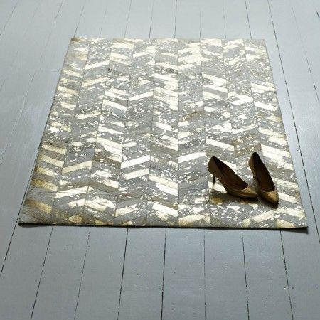 Gold Chevron Cowhide Rug