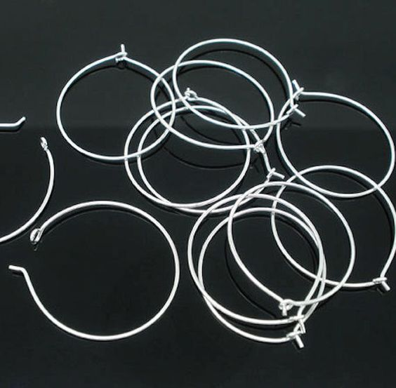 BULK 200 Wine Charm Hoops Silverplated 20mm - $9.95 USD + $0.35 USD Shipping (total plus 100 lot, $19.75)