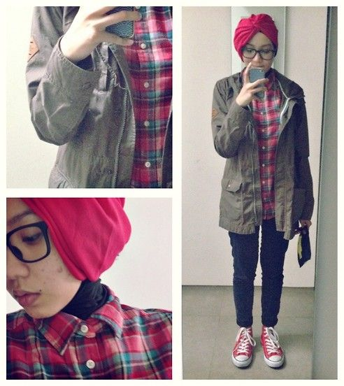 Syaifiena W - Ootd. Casual Hijab Outfit  Uniqlo Flanel Shirt The North Face Parka Uniqlo ...