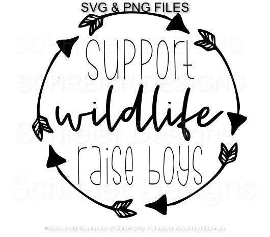 Support Wildlife Raise Boys PNG Sublimation Design Downloads Boy Mom