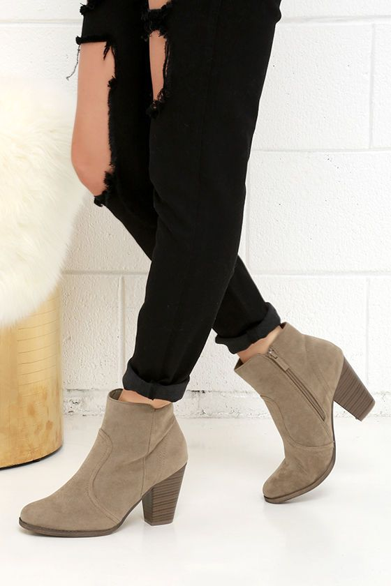 Heydays Beige Suede Ankle Boots | Ankle boots Suede ankle boots