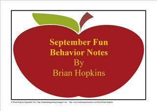 FREEBIE September Behavior Fun Notes
