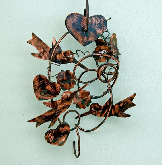 Hummingbird Bird Art Plant Holder Metal Garden Art Copper