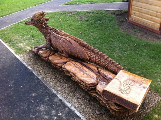 Dragon benches and chainsaw on pinterest