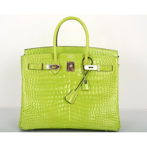 Hermès Menthe Porosus Crocodile 35cm Birkin Bag