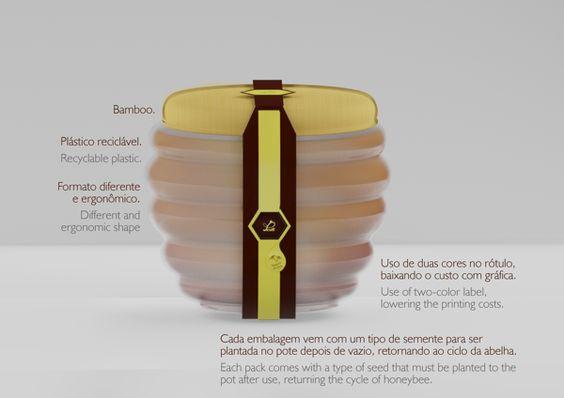 Embalagem de mel com segunda função de vaso.