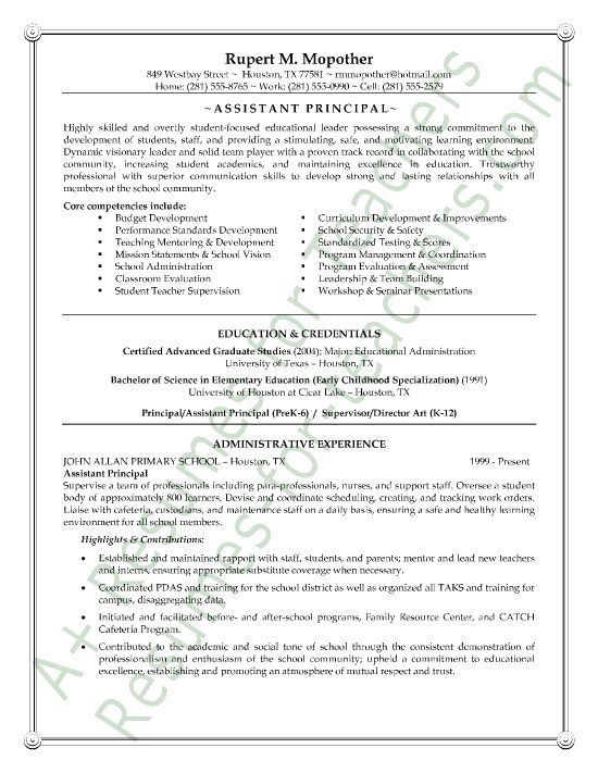This Administrator Resume Example Is Unique And Includes A List Of Core Competencies A Profile And His Streng Education Resume Vice Principals Teacher Resume