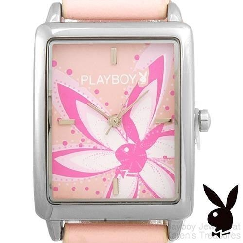 Playboy Watch Flower Bunny Logo Pink Band Stainless Steel Back Ladies  #Playboy #Casual