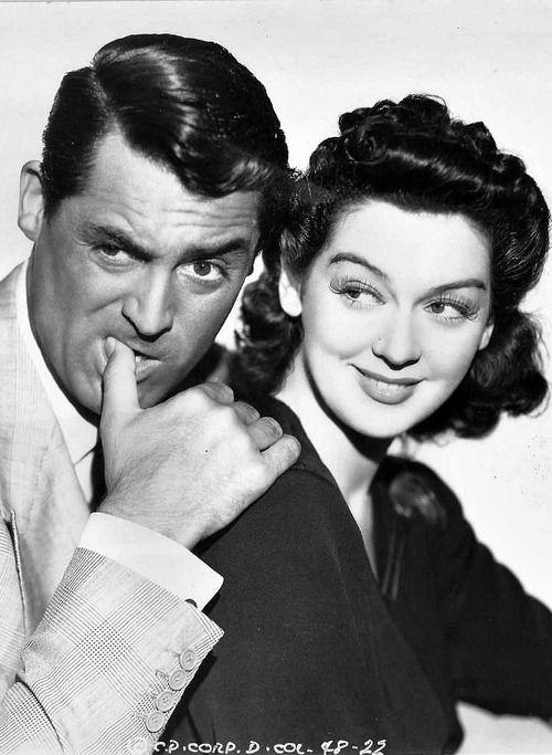 Cary Grant y Rosalind Russell en foto promocional para 'Luna nueva' (Howard Hawks, 1940):