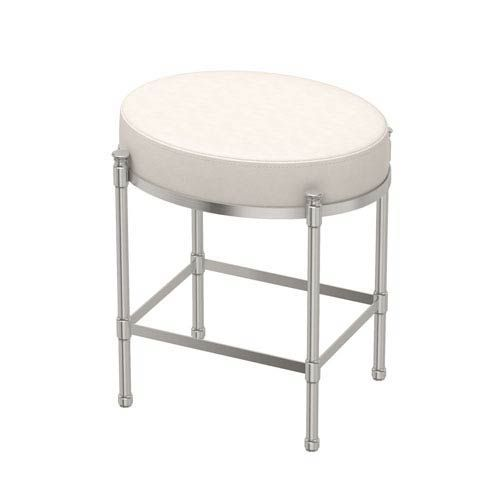 Gatco White Leather Oval Vanity Stool Satin Nickel 1359 In 2020