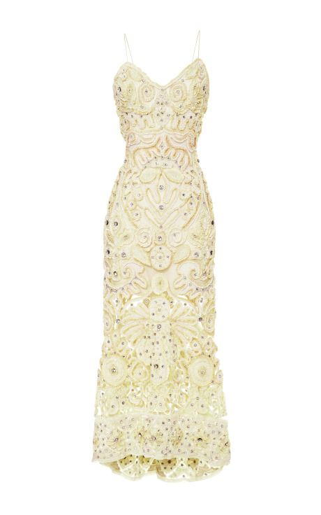 Crystal And Chenille Ribbon Embroidered Cocktail Dress