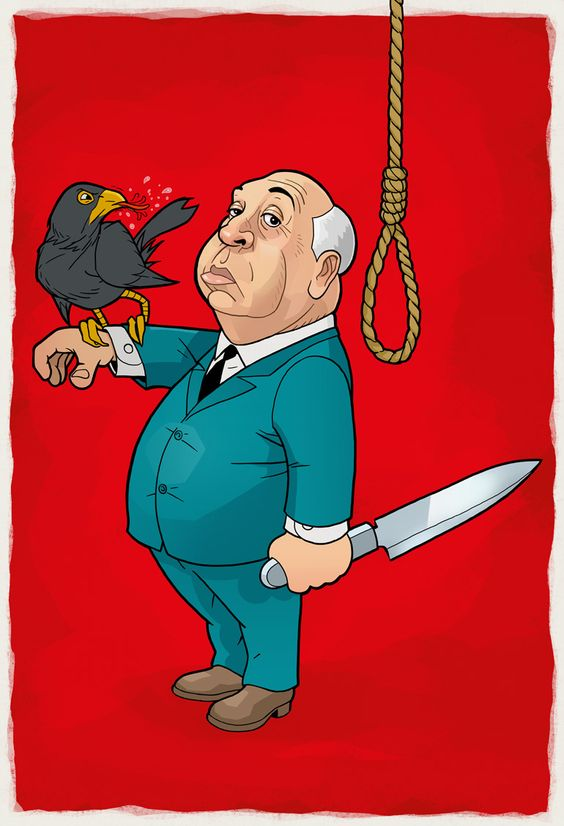 Alfred Hitchcock - caricature © Odenthal Illustration