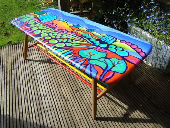 Hand painted coffee table via The Lady Loves To Paint, via Etsy