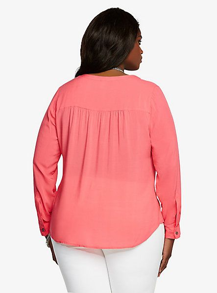Challis Button-Tab Sleeves Top | Torrid