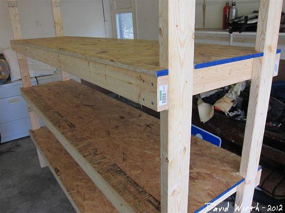 Wood shelf garage organize heavy duty strong 2x4 for 2x4 cabinet plans