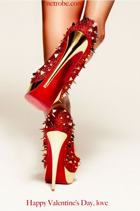 Valentine's Day-Glamour-Red heels-Christian Louboutin spiked ...