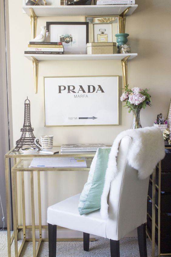 Great and easy IKEA hack! This desk is $39.90 and just spray painted gold with Rustoleum spray paint!: