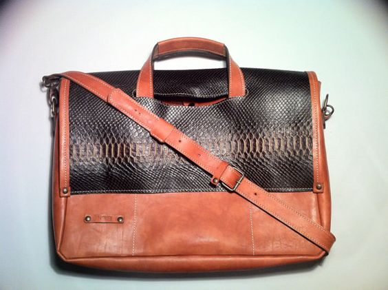17'' Sabina Business Bag Snake leather Briefcase by 74streetbags