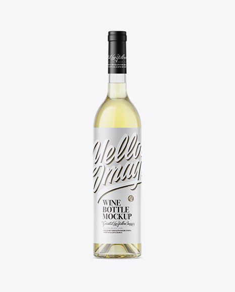 Clear Glass Bottle With White Wine Mockup In Bottle Mockups On Yellow Images Object Mockups Mockup Free Psd Mockup Free Download Bottle Mockup