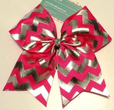 Bows by April - Hot Pink with Metallic Foil Silver Chevrons Cheer Bow, $10.00 (http://www.bowsbyapril.com/hot-pink-with-metallic-foil-silver-chevrons-cheer-bow/)